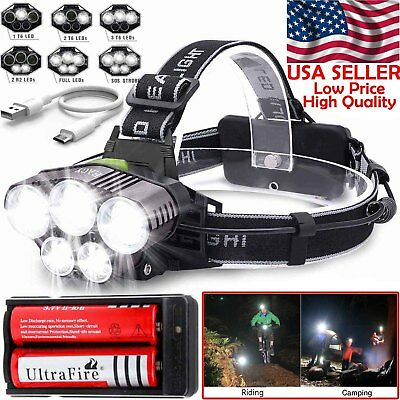 90000LM 5*T6 LED Headlamp Rechargeable Head Light Flashlight Torch Lamp +Battery