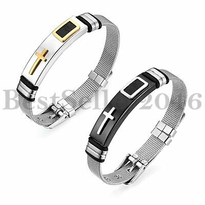 12MM Mens Stainless Steel Religious Cross Bangle Mesh Cable Bracelet Adjustable