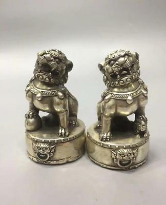 China collection archaize white copper lion statue A pair