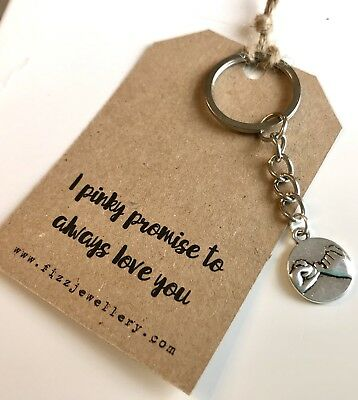 """""""I Pinky Promise to Always Love You"""" Message Card Keyring Xmas Gift Anniversary"""