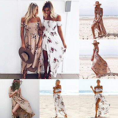 Women Long Dress Holiday Maxiskit Sandbeach Tube Dress Backless Off Shoulder