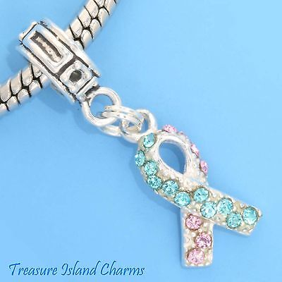 BABY LOSS PINK AND BLUE CRYSTAL RIBBON .925 Sterling Silver EUROPEAN Bead Charm