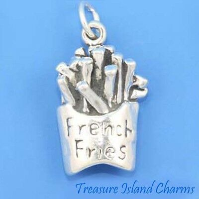 FRITES fast food 3D 925 Solid Sterling Silver Charm Made in USA