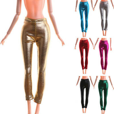Elastic Stretch Leather Bottom Pants For Barbie Doll Clothes Trousers Xmas Gifts