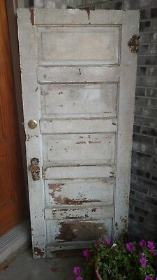 Antique Vintage White  Entrance Front Wood Door great patina