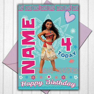 Moana Personalised 3rd 4th 5th 6th 7th 8th Birthday Card Any Name/Age