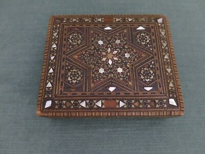 Ornate Wood and Mother of Pearl Vintage Mosiac Box