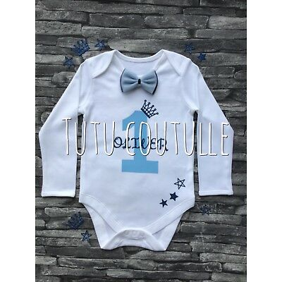 Personalised Boys Cake smash Vest 1st Birthday Outfit 12-18 White Any Name