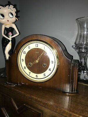 Vintage Smiths Enfield 8 Day Strike / Mantelpiece Clock With Keys