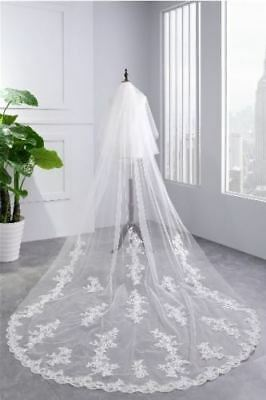 Bridal veils Wedding lace Veil Cathedral long 2Tier With Comb 3M ivory/white