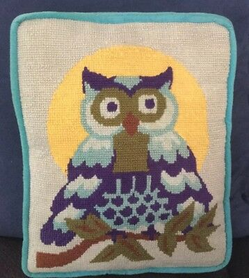 Vtg.Throw Pillow Handmade Needlepoint Owl Bird  1960's Retro.Hippi
