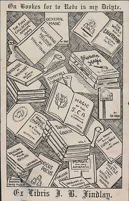 James B. Findlay (1904 - 1973) Magic Historian & Collector  Bookplate JD.1655