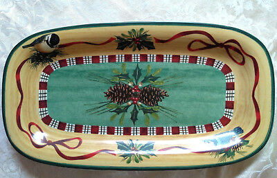 "Lenox Winter Greetings EVERYDAY 14"" Tartan Snack Tray Rectangular"