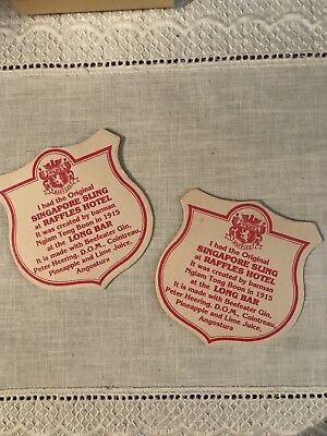 Vintage Pair Of 2 Singapore Sling Drink Coasters Raffles Hotel Long Bar - Cool!