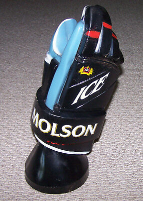 """Cool Molson Ice Brewed Hockey Glove Beer Bottle Display 18"""" Tall Over 2.5 Pounds"""