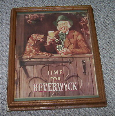 Vintage Time For Beverwyck Wood Framed Beer Sign 15.5 x 12.5 Inches