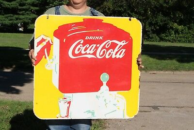 "Vintage 1941 Coca Cola Soda Fountain Pop Gas Oil 2 Side 26"" Porcelain Metal Sign"