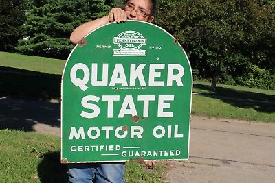 "Rare Vintage c.1940 Quaker State Motor Oil 2 Sided 29"" Porcelain Metal Sign"