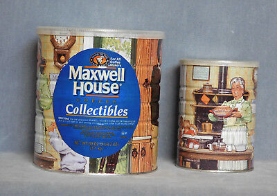 2 MAXWELL HOUSE COFFEE COLLECTIBLES TIN CANS 39 OZ & 1 Smaller