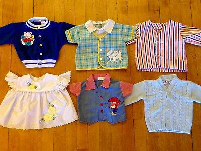 6 Piece Vintage 70's/80's Baby Infant Clothes Clothing Embroidered Sweater Lot