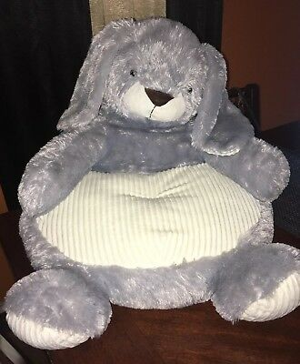"TODDLER KID PLUSH 18"" ANIMAL SHAPED ULTRA SOFT BUNNY NURSERY CHAIR Grey/Blue"