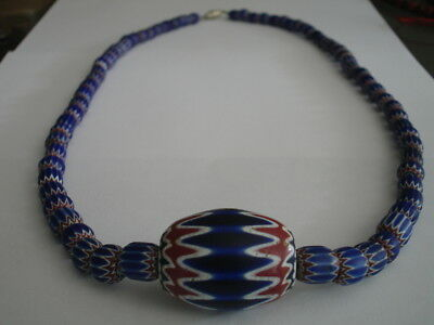 Antique Venetian Chevron Italian Glass Bead Grad.Necklace, Vintage African Trade