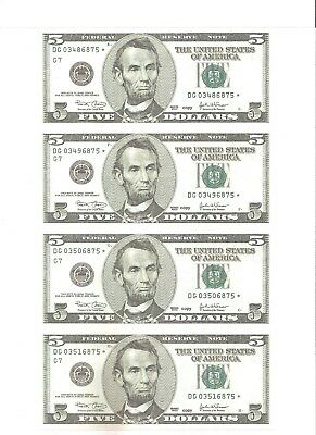 2003 Uncut Sheet Of Consecutively Marked $5 Fed Reserve Notes ~Reproduction~