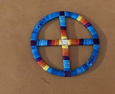 Totally Neat New Lakota Sioux Quilled Large Medicine Wheel Quilled On Rawhide