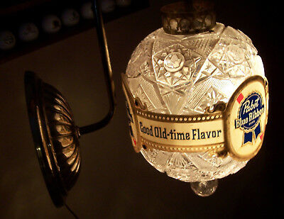 Vintage Pabst Blue Ribbon Beer Rotating Wall Lamp Good Old-Time Flavor