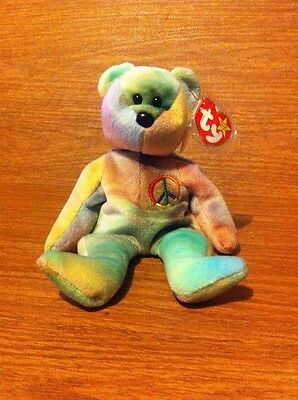 RARE TY BEANIE Baby Peace Bear Original Collectible with Tag Errors ... 8cbde57cacb5