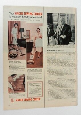 1957 SINGER VACUUM CLEANER Print Ad Singer Sewing Center Magazine Ad A131