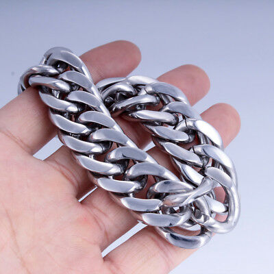 9/12mm Mens Chain Rombo Curb Cuban Link Silver Tone Stainless Steel Necklace HOT