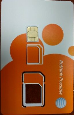 AT&T ATT FACTORY NANO SIM.  4G LTE sim card  NEW UNACTIVATE, TRIPLE CUT 3 IN 1