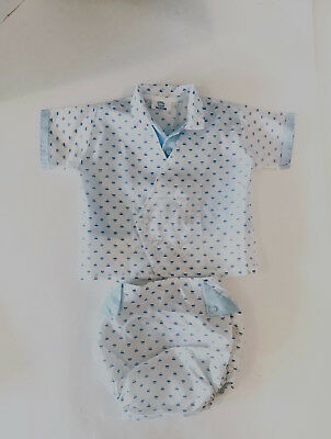 Vintage NUDAY Creations Baby Boy Blue 2 Piece Outfit Set / Diaper Cover / Size L