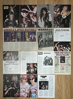 Vintage Jani Lane Jerry Dixon Turner Warrant Pinup Magazine Clippings Lot Of 15