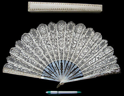 Antique Victorian Maltese Lace & Mother of Pearl Fan eventail abanico 1900 Boxed