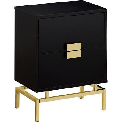 """Monarch Specialties I 3496 Accent Table 24""""H Cappuccino Gold Metal"""