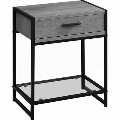 "Monarch Specialties I 3500 Accent Table 22""H Grey Black Metal Tempered Glass"