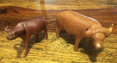 """Set Of Two Vintage hand carved wooden water buffalo/buffalo 6"""""""