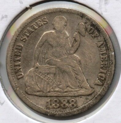 1888-S Seated Liberty Dime - San Francisco Mint AT485