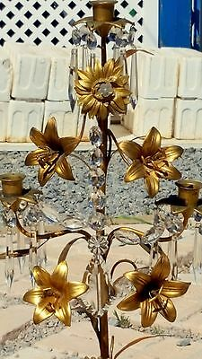 "RARE Pair Antique VICTORIAN 29.5""T ORNATE BRASS/BRONZE Candelabras CRYSTALS WOW!"
