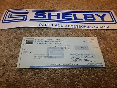 1966 Shelby American Original Check To Edelbrock Manufacturing For Parts Rare!
