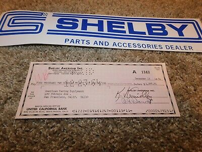 1964 Shelby American Original Check To American Racing Equipment $4296.91 Rare