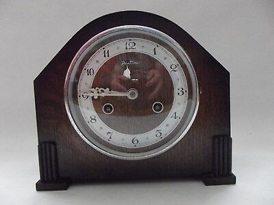 Art Deco Bentima Oak Cased Mantle Clock c1930's
