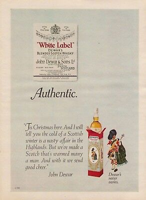 1969 Dewar's Blended Scotch Whisky White Label Christmas Vintage Color Print Ad