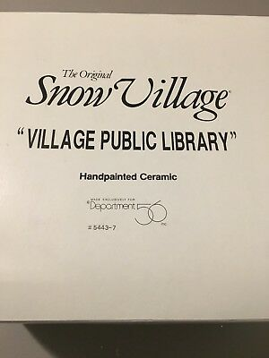 Dept 56 Snow Village - Village Public Library - # 54437 - Retired 1997-P33