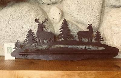 New Hand Crafted Rustic Metal Deer Stag Towel Bar Rack Cabin Lodge Decor