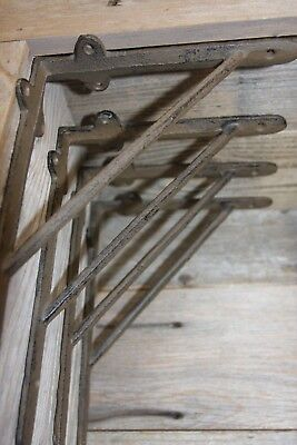 Old Fashioned Cast Iron Shelf Brackets Rustic Brown Finish, 9 inches, B-46
