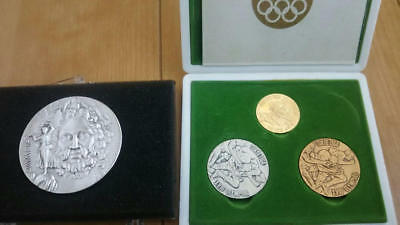 1st Athens Olympic Champion Pure Silver Medal & Tokyo Olympic Medal Set rare F/S
