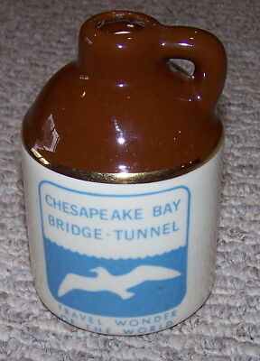 "Vintage Chesapeake Bay Bridge - Tunnel Small Stoneware Jug 4.75"" Travel Wonder"